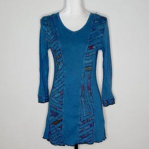 Parsley & Sage Blue Aztec Long Sleeve Tunic